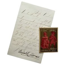 Leopold Morse Signed Letter With Clothing StoreTrade Card- Boston 1879