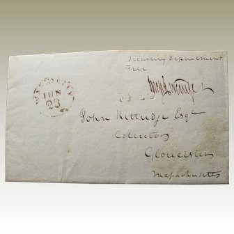 Stampless Folded Cover- Treasury Department Receipt Of Fishing Licenses Gloucester MA- 1816