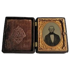 Ninth Plate Ambrotype Of Gentleman in Full Thermoplastic Union Case.