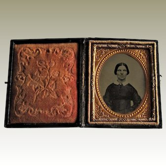 Ninth Plate Civil War Ambrotype Of Lovely Woman In Leather Embossed Case.