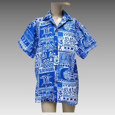Vintage Polynesian Bazaar Tribal Design Man's Shirt, Waikiki, Hawaii