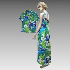 Royal Hawaiian Honeymoon Matching Tropical Barkcloth Dress and Shirt.