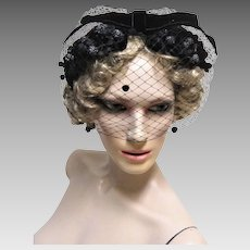 1960s Chic Black Cocktail Hat with Velvet Leaves and Berries.