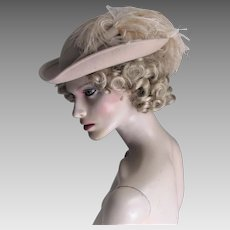 Frank Olive For Bonwit Teller Cavalier Style Hat With Two Huge Ostrich Feathers.