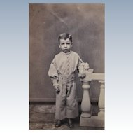 Civil War Era CDV Photograph of Unhappy Little Boy. Taunton, Mass.