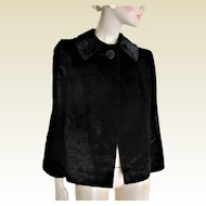 1960s Black Faux Seal Skin Fur Jacket. S/M.