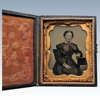 Ninth Plate Tinted Tintype Of Lovely Woman In Leather Embossed Case.