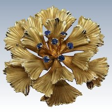 Danecraft Signed Gold Filled Sapphire Gemstone Flower Brooch-RESERVED