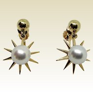 14K Cultured South Sea Pearl Starburst Earrings- F & F Felger Co.