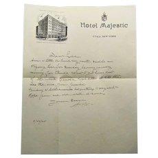 Lithograph Letterhead Hotel Majestic Utica, New York. 1925