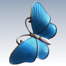 Sterling Silver Blue Enamel Guilloche Butterfly Brooch by Ivor T. Holth-Norway