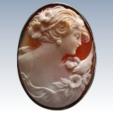 Fine Hand Carved Carnelian Shell Cameo of Goddess Flora with Peace Dove. 800 Silver.