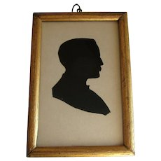 19th Century Hand Cut Paper Silhouette Portrait Of A Gentleman in Gilded Wood Frame.