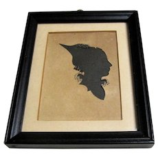 19th Century Framed Hollow Cut Silhouette Of A Lovely Young Lady.