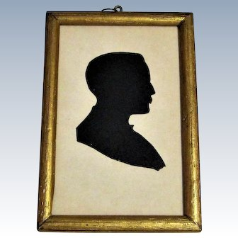 19th Century Hollow Cut-Out Silhouette Portrait Of A Gentleman in Gilded Wood Frame.