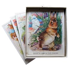 Five Peter Rabbit Puzzles in Original Box Published by Saml Gabriel Sons & Company.