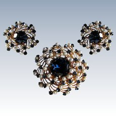 Judy Lee Sapphire Blue Rhinestone Faux Pearl Brooch and Earrings Set.