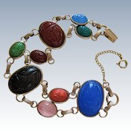 Egyptian Revival Double Row Large Scarab Gold Filled Bracelet