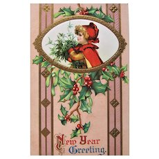 New Year Greeting Embossed Postcard-Germany 1910