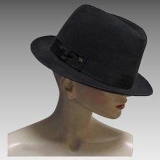 Knox New York Fedora Premier Quality Black Fur Felt Hat Size 7-1/2″