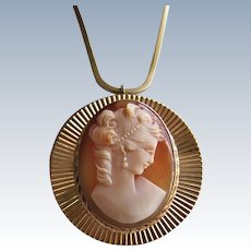 Van Dell Gold Filled Carved Carnelian Shell Cameo Brooch/Pendant and Chain