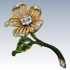 Nolan Miller Peach Enamel Austrian Crystal Flower Brooch