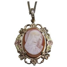 L.S. Peterson Co. 12K Gold Filled Virgin Mary Shell Cameo Pendant /Chain