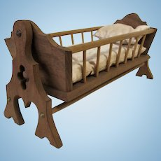 Antique Spindle Wood Rocking Doll Cradle With Straw Filled Mattress and Pillow.