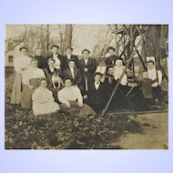 Outdoor Family Cabinet Card Portrait- Women, Children and a Jack Russell Terrier Dog.
