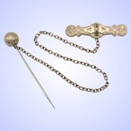 Victorian Gold Filled Enamel Brooch and Ball Stick Pin Cloak or Cape Fastener With Chain.