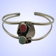 Childs Native American Indian Turquoise and Coral Cuff Bracelet.