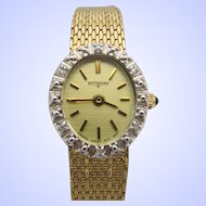 Wittnauer Ladies Quartz Dress Watch Gold Plated With Diamond Accents.