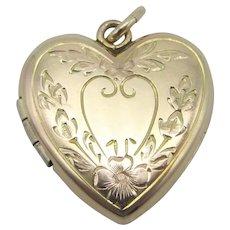 10K Gold Filled Heart Shape Floral Etched Locket- J M F Co.