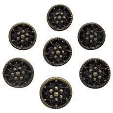 Victorian Set of Seven Gilt Cut Steel Flower Buttons- Hallmarked K&H Germany