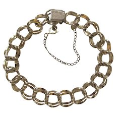 12K Gold Filled J.B. Champion Curb Double Link Charm Bracelet.