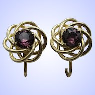 12K Gold Filled Screw Back Amethyst Love Knot Earrings.