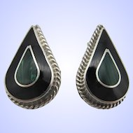 Vintage Mexico Sterling Silver .925 Black Onyx and Green Malachite Earrings.