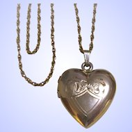 Gold Filled Hand Chased Heart Locket With Gold Filled Cable Chain