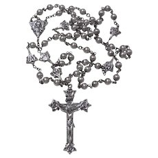 Vintage Creed Sterling Silver Medallion and Bead Crucifix Rosary.