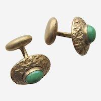 Edwardian Oval Gilt Cufflinks With Green Peking Glass Stones.