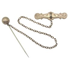 Victorian Gold Filled Brooch and Stickpin Cape Fastener