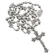 Creed Sterling Silver Medallion and Bead Crucifix Rosary.