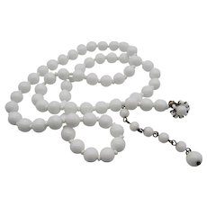Classic Signed Miriam Haskell White Milkglass Bead Necklace- 26''