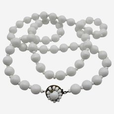 1950s Signed Miriam Haskell White Milk Glass Bead Necklace- 24'' Length.