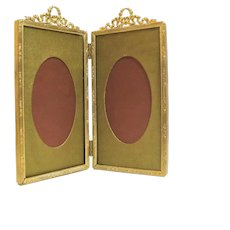 Antique French Gold Gilt Metal Bi-Fold Picture Frame.