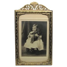 Victorian Gilt Brass Picture Frame- Photograph Of Child With Teddy Bear.
