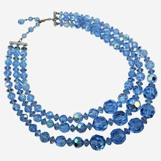 Austrian Crystal Blue Aura Borealis Triple Strand Necklace.