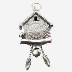 European 800 Silver Mechanical Cuckoo Clock Swiss Chalet Charm