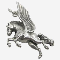 Sterling Silver Mythical Winged Horse Pegasus Charm.