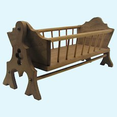 Hand Crafted Spindle Wood Rocking Cradle For Small Doll.